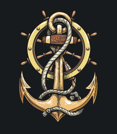 Ship Anchor and Steering Wheel drawn in Tattoo style. Vector illustration. Ilustracja