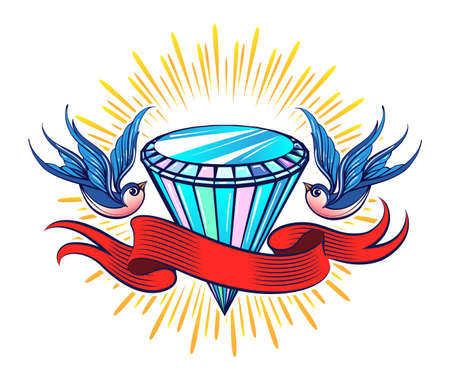 Colorful Tattoo of Shining Diamond with ribbon and two Swallows. Vector illustration.
