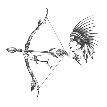 Tattoo of Woman in Natine Indian War Hair Dress stands with Bow and Arrow isolated on white. Vector illustration. Ilustracja