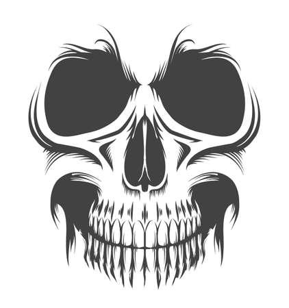 Tattoo of Human Skull isolated on white. Vector illustration. Ilustracja