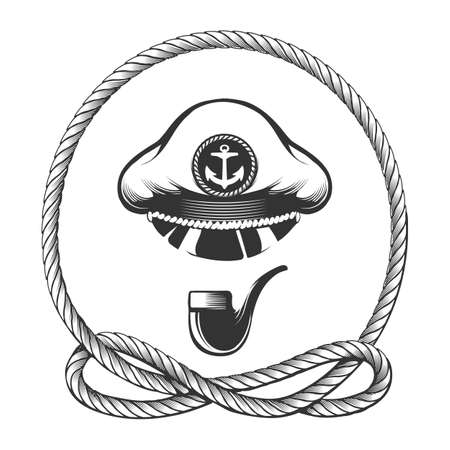 Navy captain hat with smoking pipe in marine rope circle. Vector illustration Ilustracja