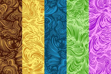 Doodle Seamless Pattern Set. Five seamless backgrounds. Vector Illustration. Ilustracja