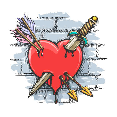 Colorful Tattoo of Heart Pierced by Dagger and Arrows on brick wall background. Vector Illustration.