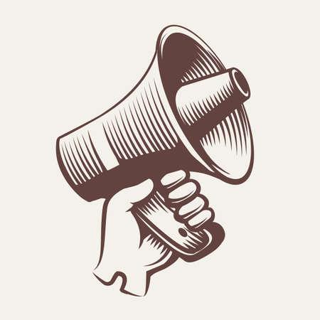Hand in glove holds megaphone. Hand drawn vintage engraving propaganda concept. Vector illustration. Ilustracja