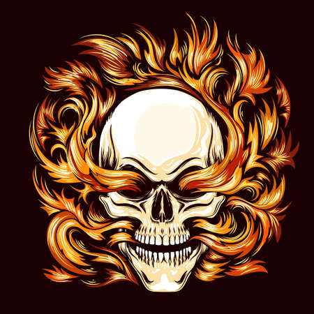 Tattoo of Skull burning in Flame of Hell isolated on White. Vector illustration.
