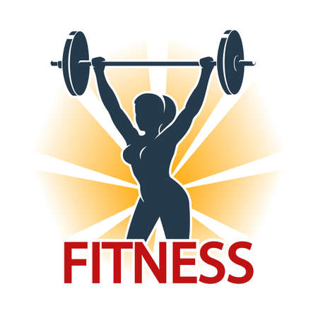 Woman silhouette with barbell. Fitness exercises concept. Fitness center or Gym emblem. Isolated on white vector illustration. Ilustracja