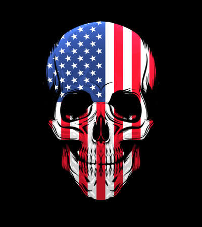 American Flag Skull Isolated on Black background. Vector Illustration