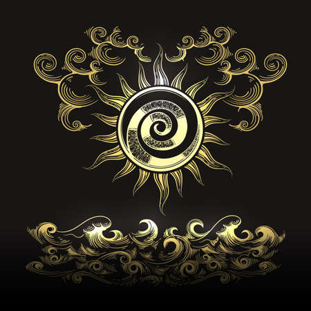 Esoteric Illustration of Sun clouds and Sea waves isolated on black background. Vector Illustration. Ilustracja