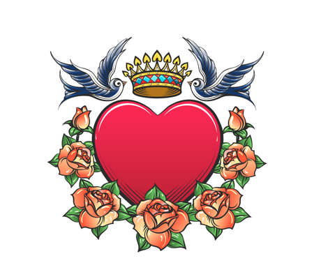 Tattoo of Heart with Crown Rose Wreath and Two swallows isolated on White. Vector illustration