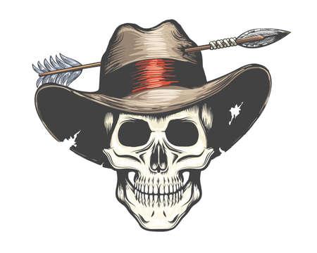 Human Skull in Arrow shot Cowboy Hat Colorful Tattoo. Vector illustration.