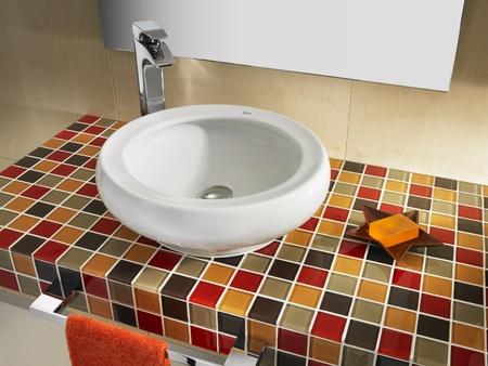 bathroom, inter design, home, luxury, mirror, mosaic, bathroom, modern, sink, tile, texture, Stock Photo - 9141096