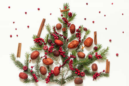 Red and pink toned nuts, berries and cinnamon with spruce branches on a white background. Decorations for a table or holiday.
