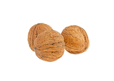 three walnuts isolated on white background