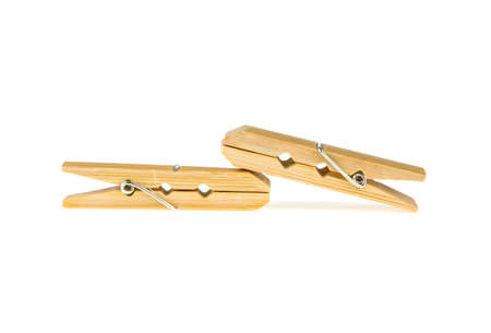 two clothespins of bamboo on a white background