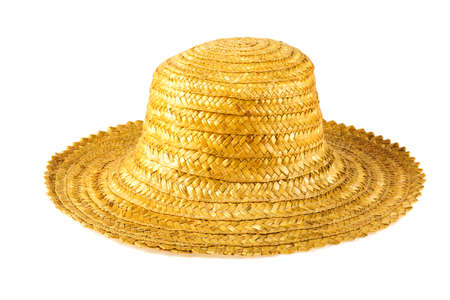 Hat made of straw on a white background