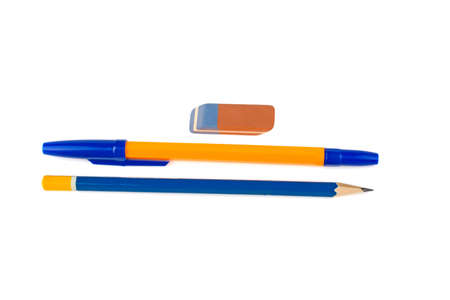 Pen eraser pencil on white background