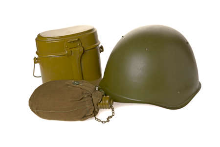 army equipment of a helmet, a food kettle and a water jar on a white background