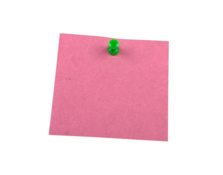 a sheet of colored paper is pinned, the concept of a reminder on a white background