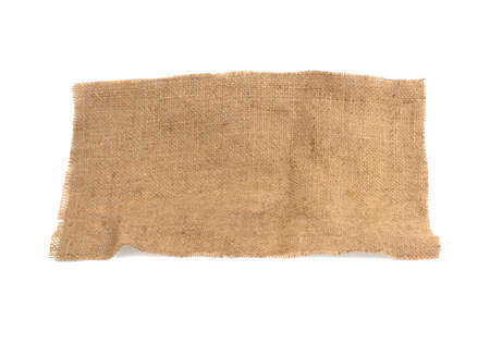 cloth burlap piece isolated on white background