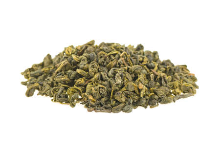 heap of green tea on a white background, isolated. 스톡 콘텐츠