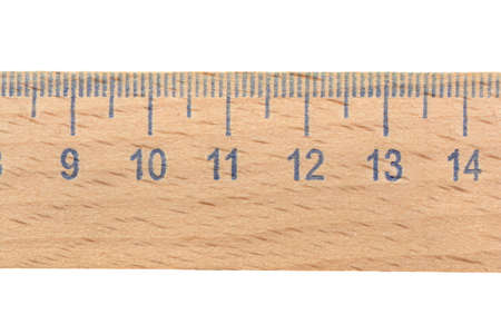 wooden ruler on a white background, isolated.