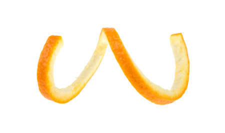 Orange zest, spiral on a white background, isolated.