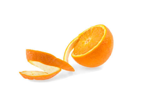 spiral zest of orange on a white background, isolated.