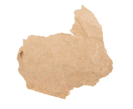 texture piece of crumpled paper on a white background, isolated.