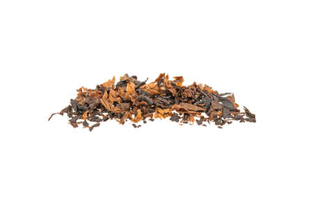 heap of tobacco on a white background, isolated. 스톡 콘텐츠