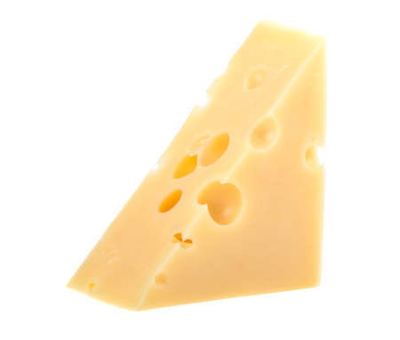 Cow cheese with holes on a white background, isolated. 스톡 콘텐츠