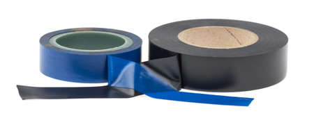 Old roll of electrical tape black and blue on a white background, isolated.