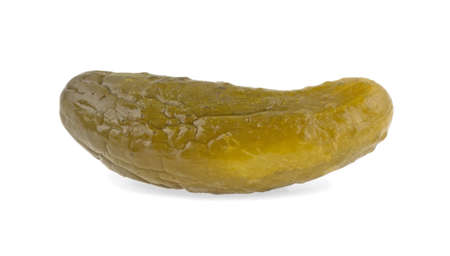 Pickled cucumber on a white background, isolated.