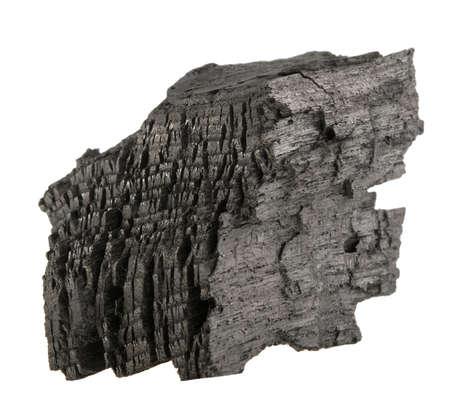Hard wood. Natural wood charcoal isolated on a white background.  charcoal.