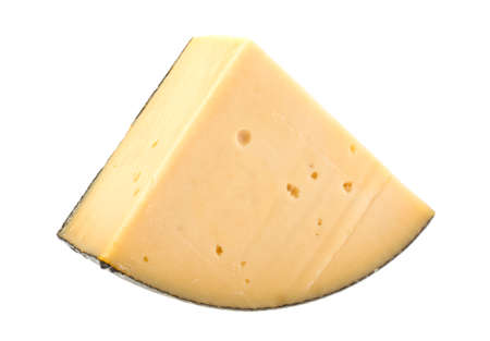 Piece of cheese on a white background, isolated.