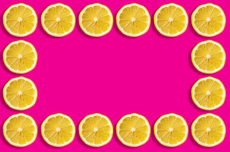 Fruit pattern of lemon slices on a pastel pink background.