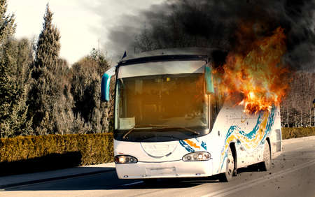 Bus in flames. Passenger bus burning Archivio Fotografico