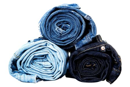 blue jeans: different tipes of jeans rolled isolated  Stock Photo
