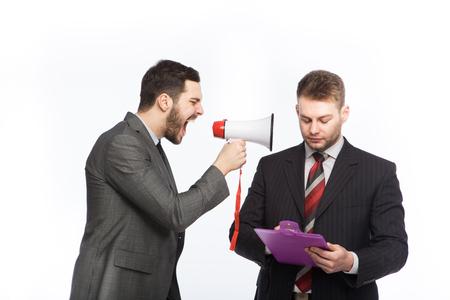 speaking tube: two elegant businessmen having an argue