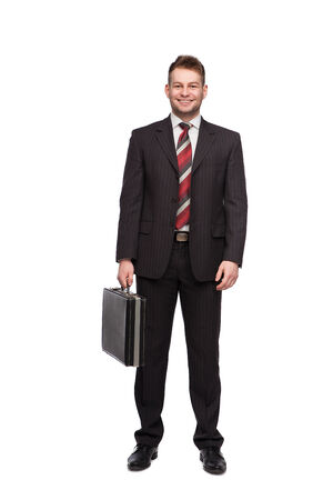 smiling businessman white briefcase on white background Banco de Imagens