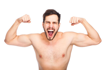 strong handsome man screeming without shirt on white background photo
