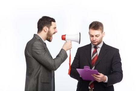 speaking tube: businessmen having an argue Stock Photo