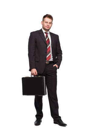 elegant relaxed man with briefcase on white