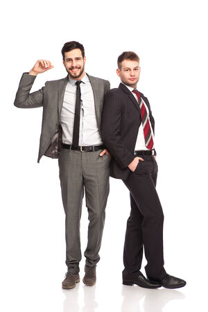 leans on hand: businessmen leans his hand on one side imaginary on white  Stock Photo