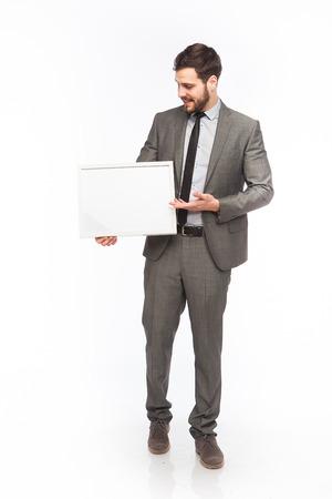 framed board presented by an elegant man photo