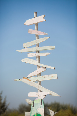 An old wooden signpost with blank arrows for you to add your own text