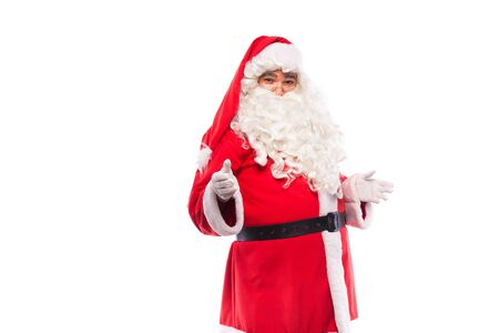 santa claus with glasses and white gloves on white backgound, copy space photo