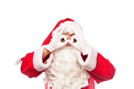 glases: santa claus with glases and white gloves making signs with his hands on white background