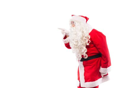 santa claus with white gloves and glasses making different signs with his hands on white background photo