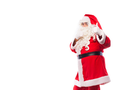 santa claus with glasses and white gloves on white background, copy space photo