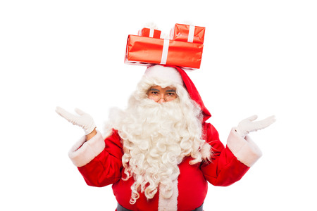 st  nick: old santa claus with glasses and white gloves holding gifts in his hands, on white background